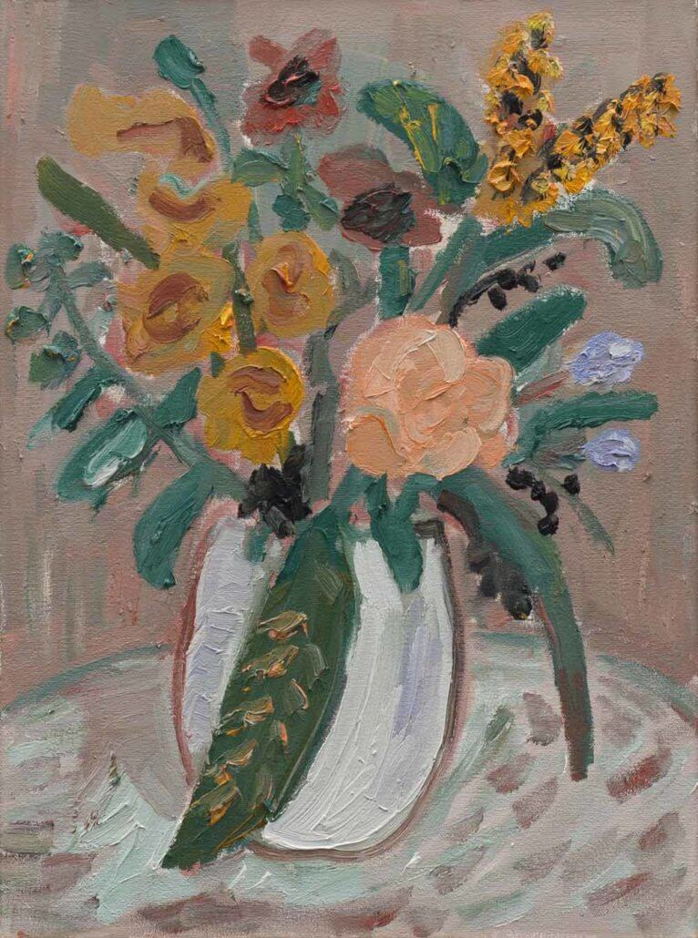 Georgina Gratrix, Flowers for Frank Who Is on a Diet, 2017. Oil on canvas, 55 x 40cm.