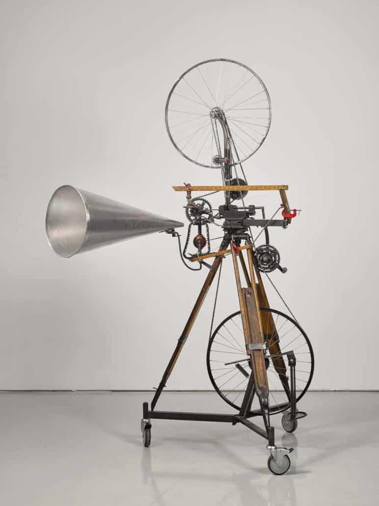 William Kentridge (South African, b.1955), Kinetic Sculpture (Bicycle Wheel), 2016. Wood, metal, bicycle wheels and rubber wheels. Estimate: £70,000-90,000.© William Kentridge