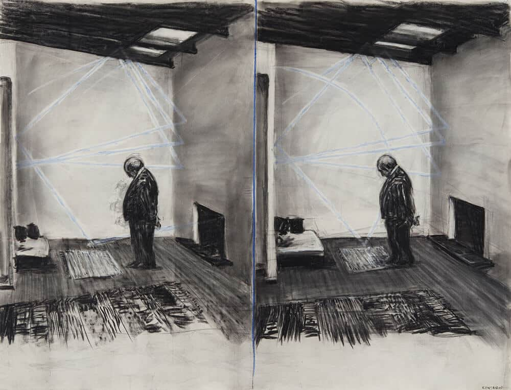 William Kentridge, Zeichnung vom Stereoskop (Soho in zwei Räumen), 1999.