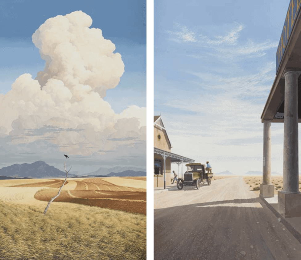 Left: Keith Alexander, Barley Fields, 1990, oil on canvas, 300 x 169 cm | Estimate: R650 000 – 900 000 (AAA Spring 18) Right: Keith Alexander, The Delivery, 1990, oil on canvas, 300 x 169 cm | Estimate: R650 000 – 900 000 (AAA Spring 18)