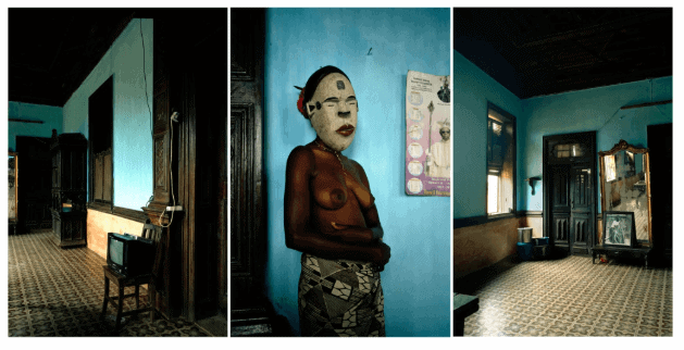 Léonce Raphael Agbodjelou (born in 1965, Bénin) | Untitled Triptych (Demoiselles de Porto-Novo series) | 2012 | C-print Edition of 5 copies + 2 EA Artist Proof 1/2 | 100 × 150 cm (each) | 8 000 / 12 000 €