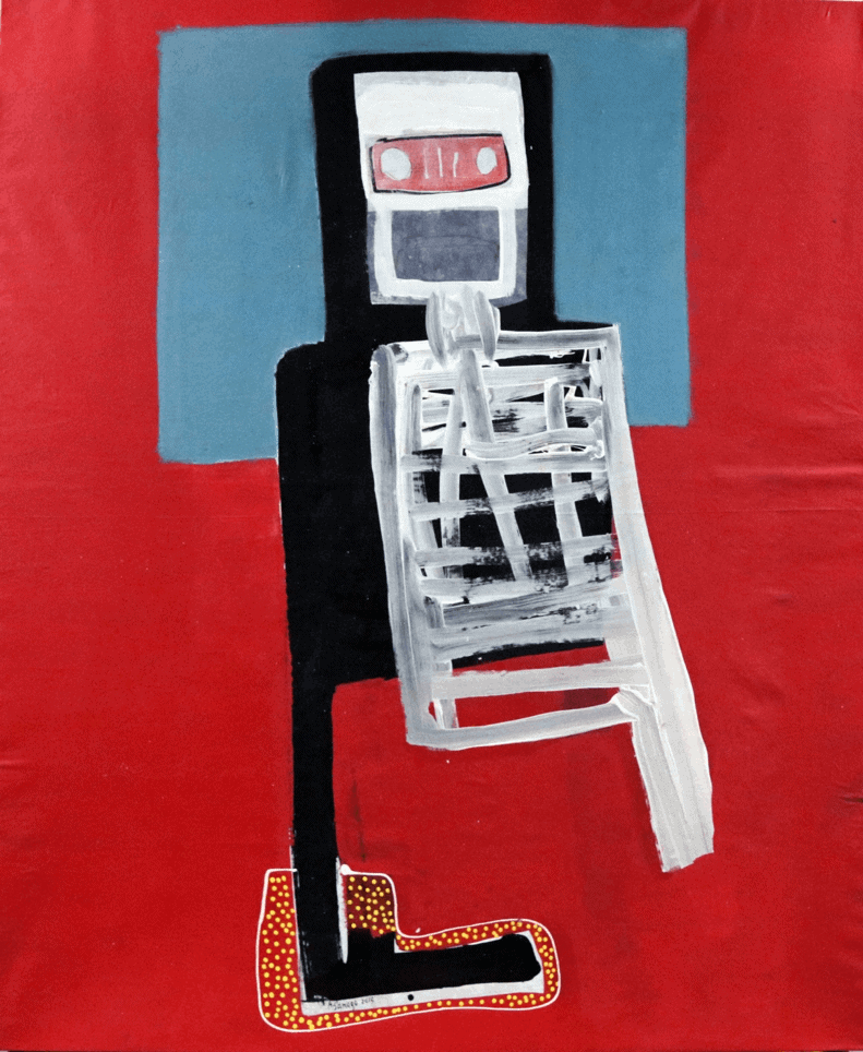 Amadou Sanogo (born in 1977, Mali) | Untitled | Oil on canvas (red) | 175 × 150cm | 6 000 / 8 000 €