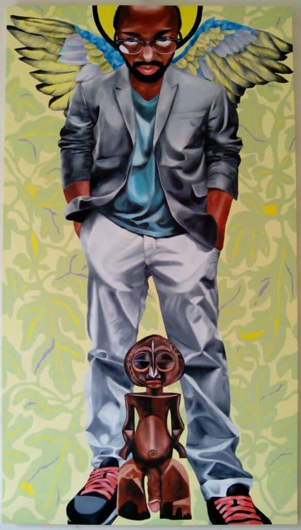 Paul Ndema (born in 1970, Ouganda) | Fertility gods | 2015 | Oil on canvas | 150 × 78cm | 10 000 / 15 000 €