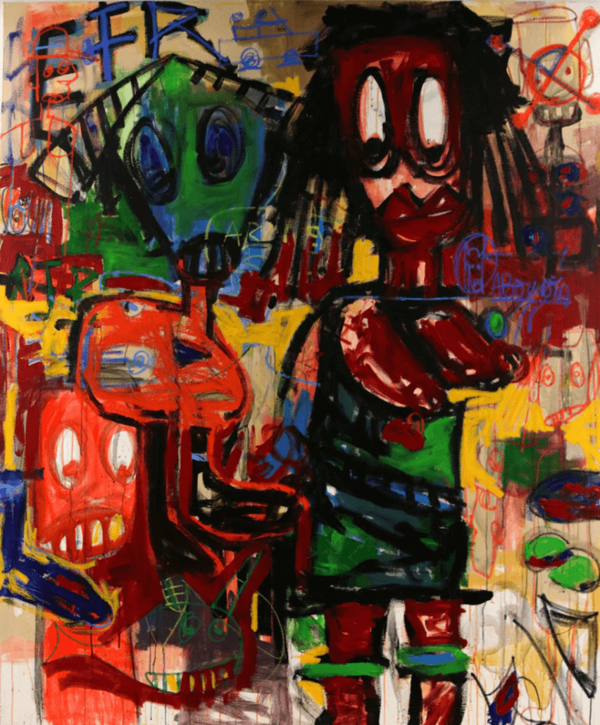 Aboudia (born in 1983, Côte d'Ivoire) | Untittled | 2015 | Acrylic, felt pen on canvas 182 × 152cm | 12 000 / 18 000 €