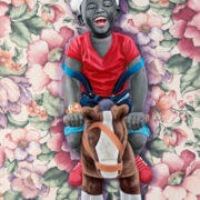 JP Mika (born in 1980, Democratic Republic of Congo) | Petit Père Noël | 2016 | Oil on printed drapery fabric Signed and dated at the bottom center | 80 × 60cm | 6 000 / 9 000 €