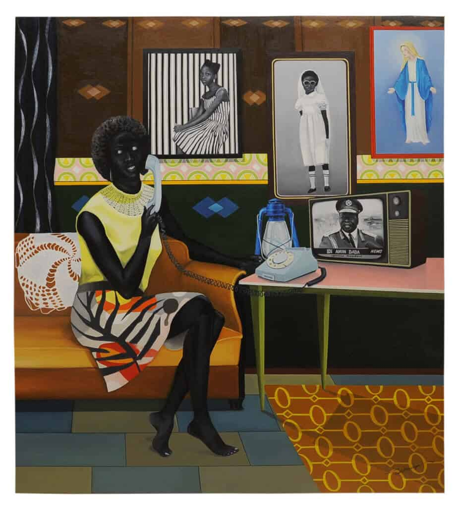 Ian Mwesiga (born in 1989, Ouganda) | The telephone call | 2018 | Oil on Canvas 180 × 120cm | 15 000 / 25 000 €