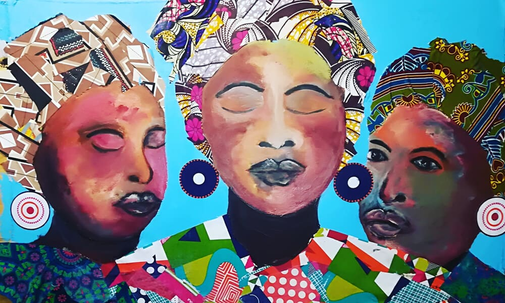 African Goddess Mothers, 2018. Mixed Media, 123 x 87cm.