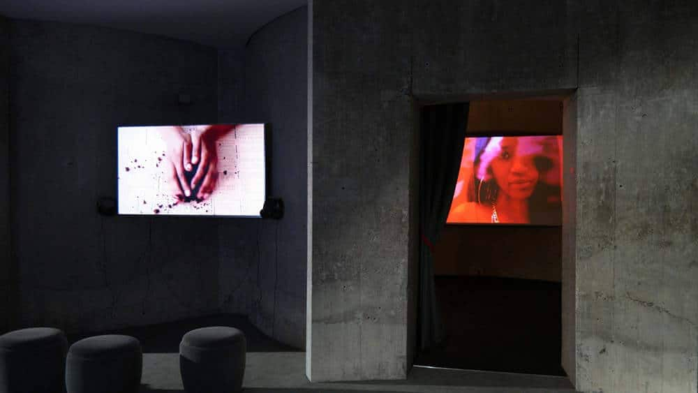 Installation view of Lerato Shadi (left) & Bonolo Kavula (right).