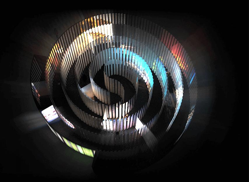 Bird's eye view of Es Devlin's sculptural installation Zoetrope