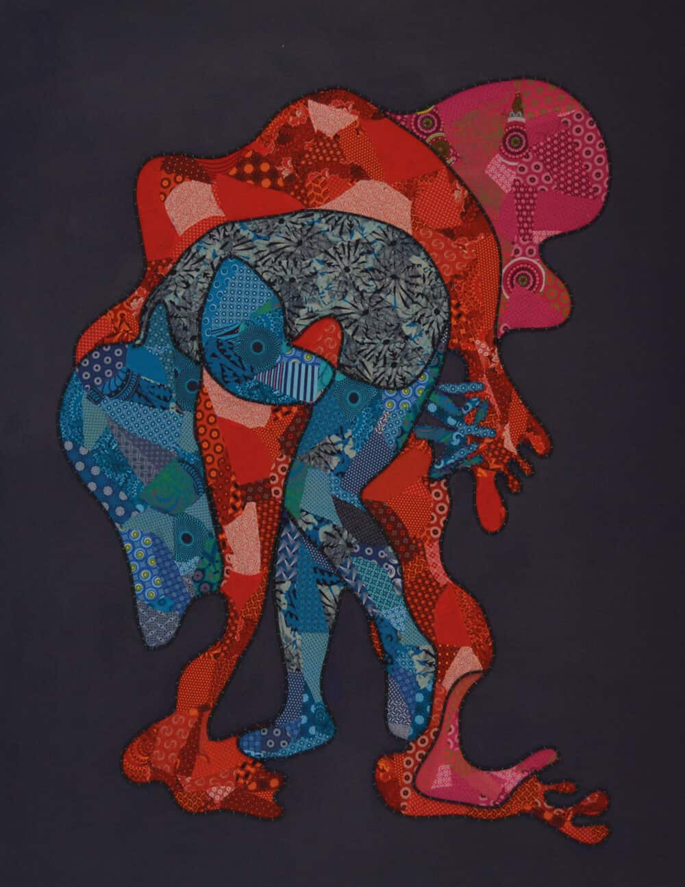 Lizette Chirrime, Dancing spirit. Fabric collage and Stitched leather rope on canvas, 170 x 133cm. All images courtesy of WORLDART gallery