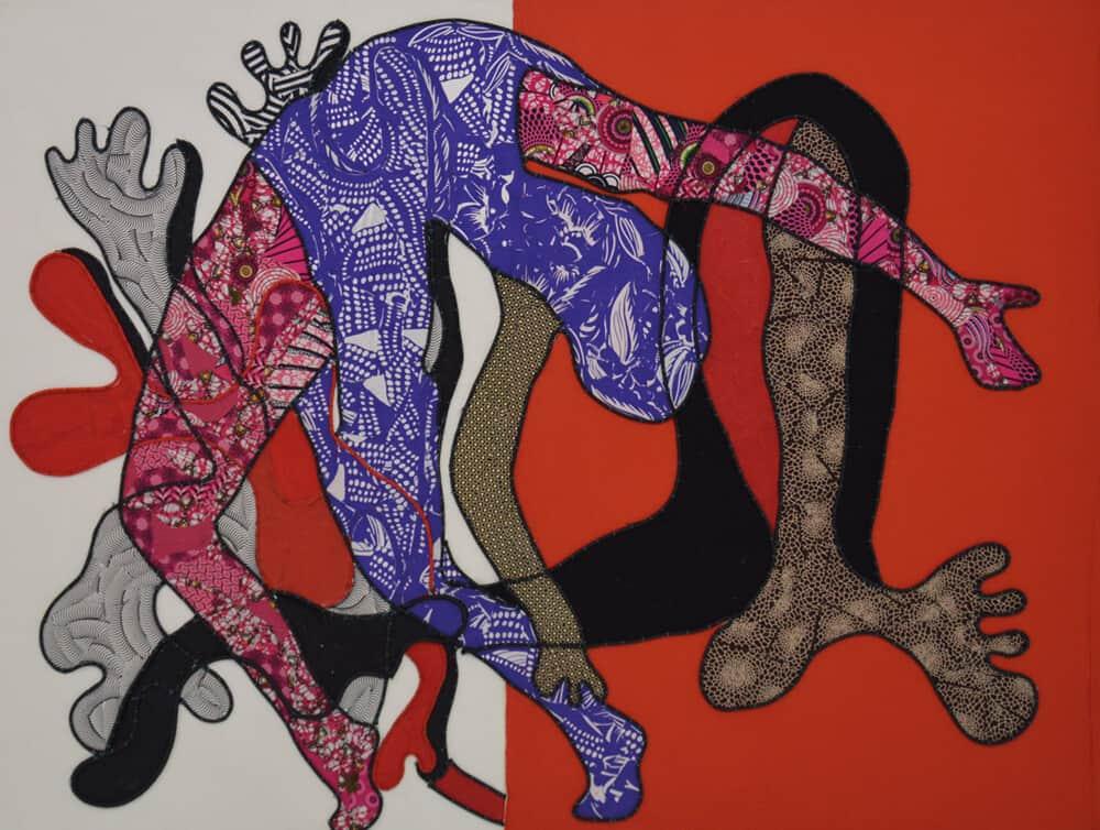 Lizette Chirrime, Mente flexible, 2018. Collage de tela y cuerda de cuero cosida sobre lienzo, 124 x 163 cm. Cortesía de WORLDART Gallery.