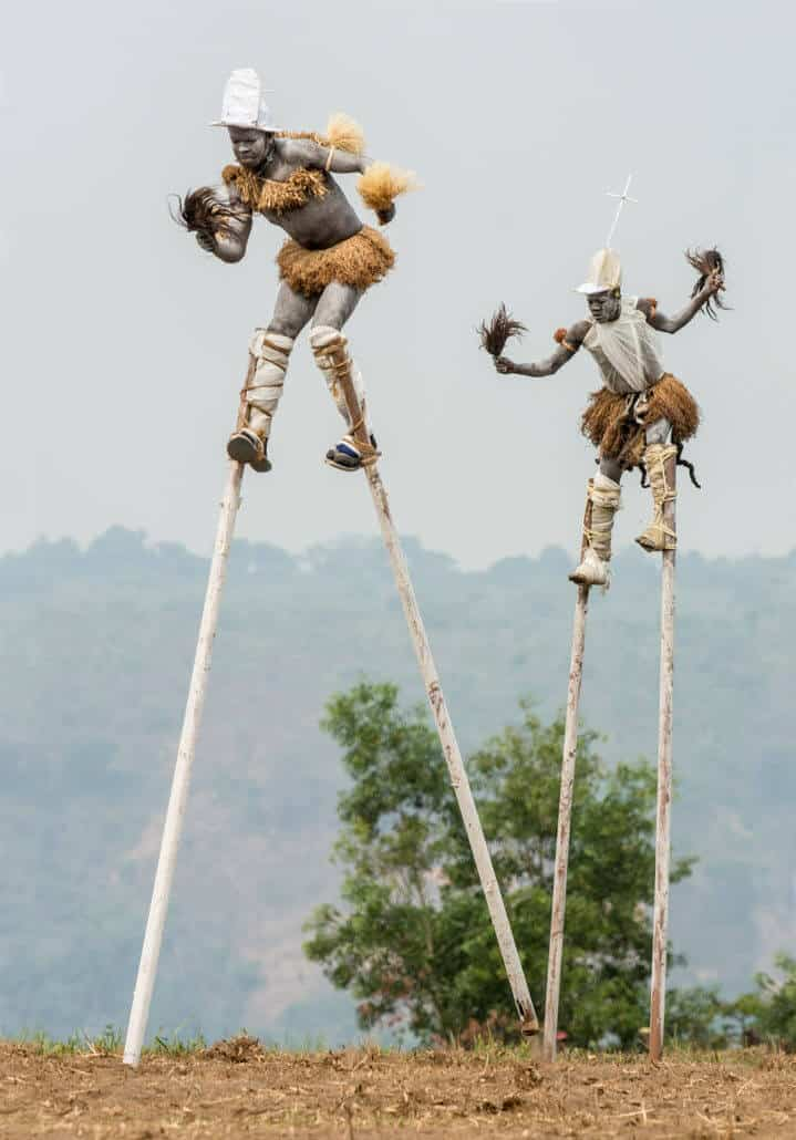 Pende Stilt Dancers, Gungu DR Congo, 2014. Copyright: Carol Beckwith and Angela Fisher