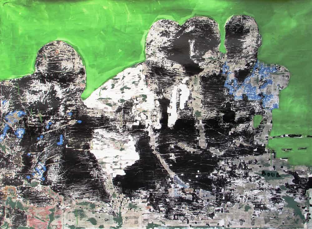 Armand Boua, Les Badès (Les amis), 2017. Acrílico y collage sobre lienzo, 160 x 219 cm. Cortesía del artista y LKB / G.