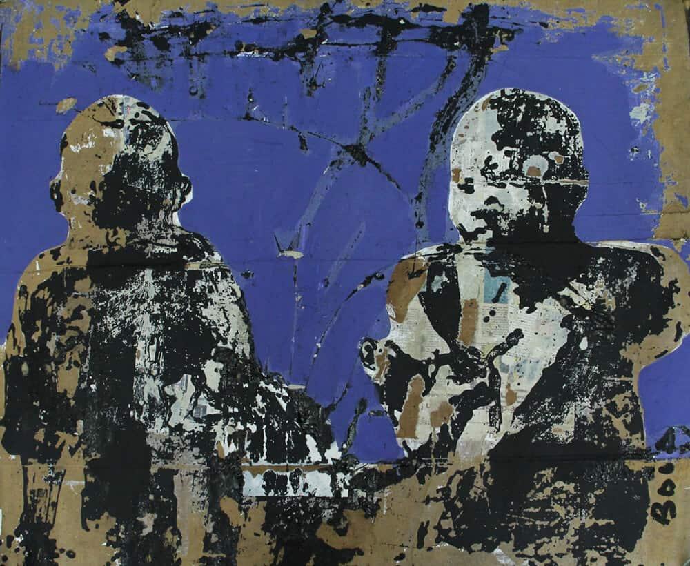 Armand Boua, Les Shèguès de Djamtala, 2017. Acrilico e collage su cartone, 91 x 102 cm. Per gentile concessione dell'artista e LKB / G.