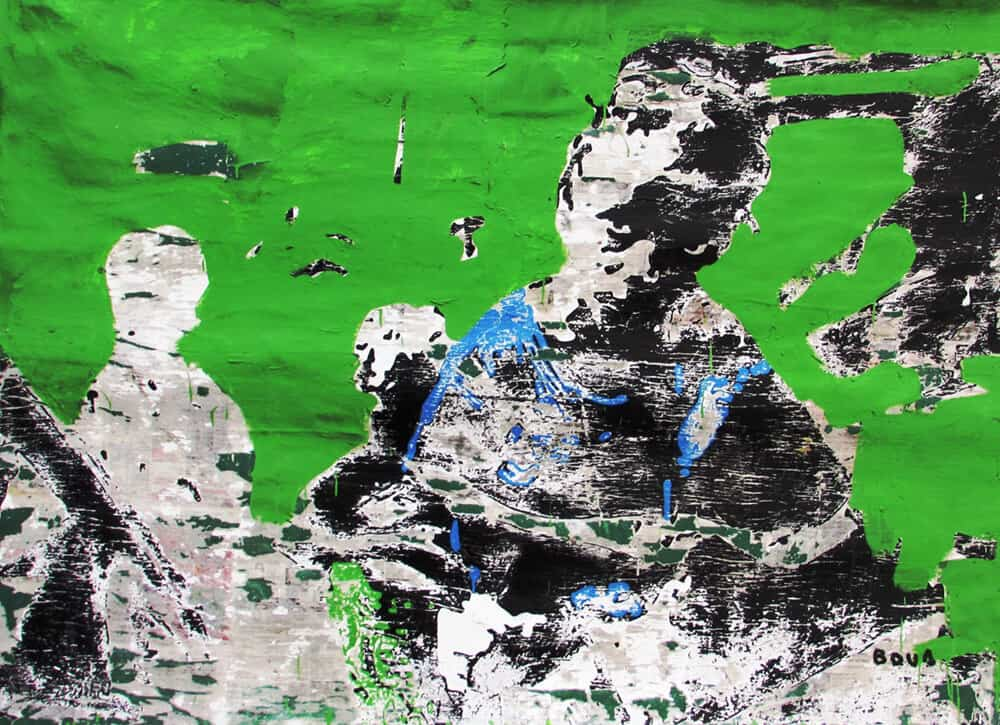 Armand Boua, Les vièx môgô (Les grand frère), 2017. Acrílico y collage sobre lienzo, 160 x 230 cm. Cortesía del artista y LKB / G.