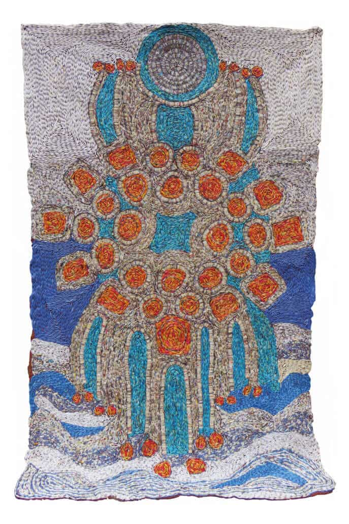 Sanaa Gateja, Keeper of the lake (Nalubaale), 2017. Paper beads on barcloth, 250 x 150cm. All courtesy of the artist & Afriart.