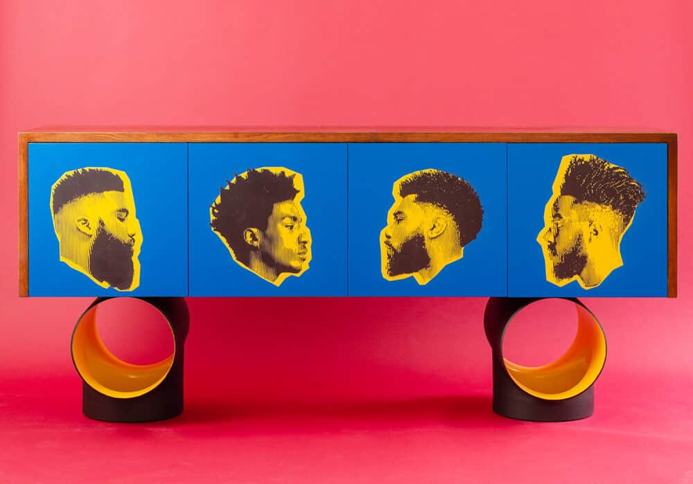 Babershop Sideboard: African Urban Sideboard based on the vibrant street lifestyle of Africa. It has a combination of industrial pipes as the base and oak top with etched portraits.