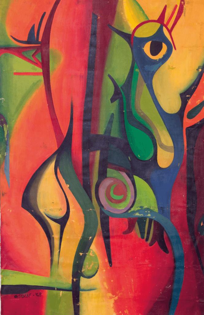 Folklore - Vogel und der Mann, 1968. Acryl auf Leinwand, 125 x 80.5 cm.