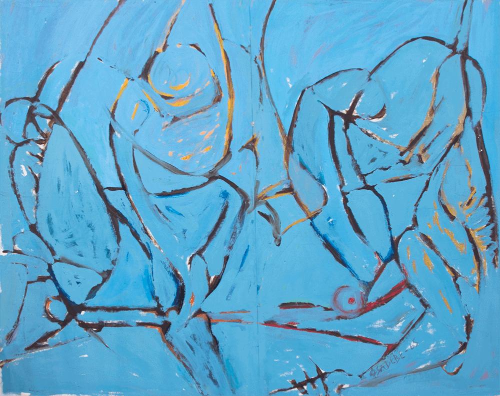 Von der Gnade gefallen, 1972-1976. Aquarell auf Leinwand, 93.5 x 93.5 cm. Alle Bilder mit freundlicher Genehmigung des Künstlers & SMO Contemporary Art.