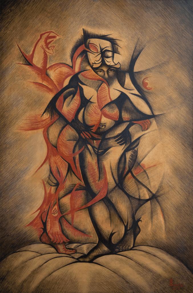 Oseloka Osadebe, Inner Light, 2013. Conte Buntstift an Bord, 123 x 80.5 cm.