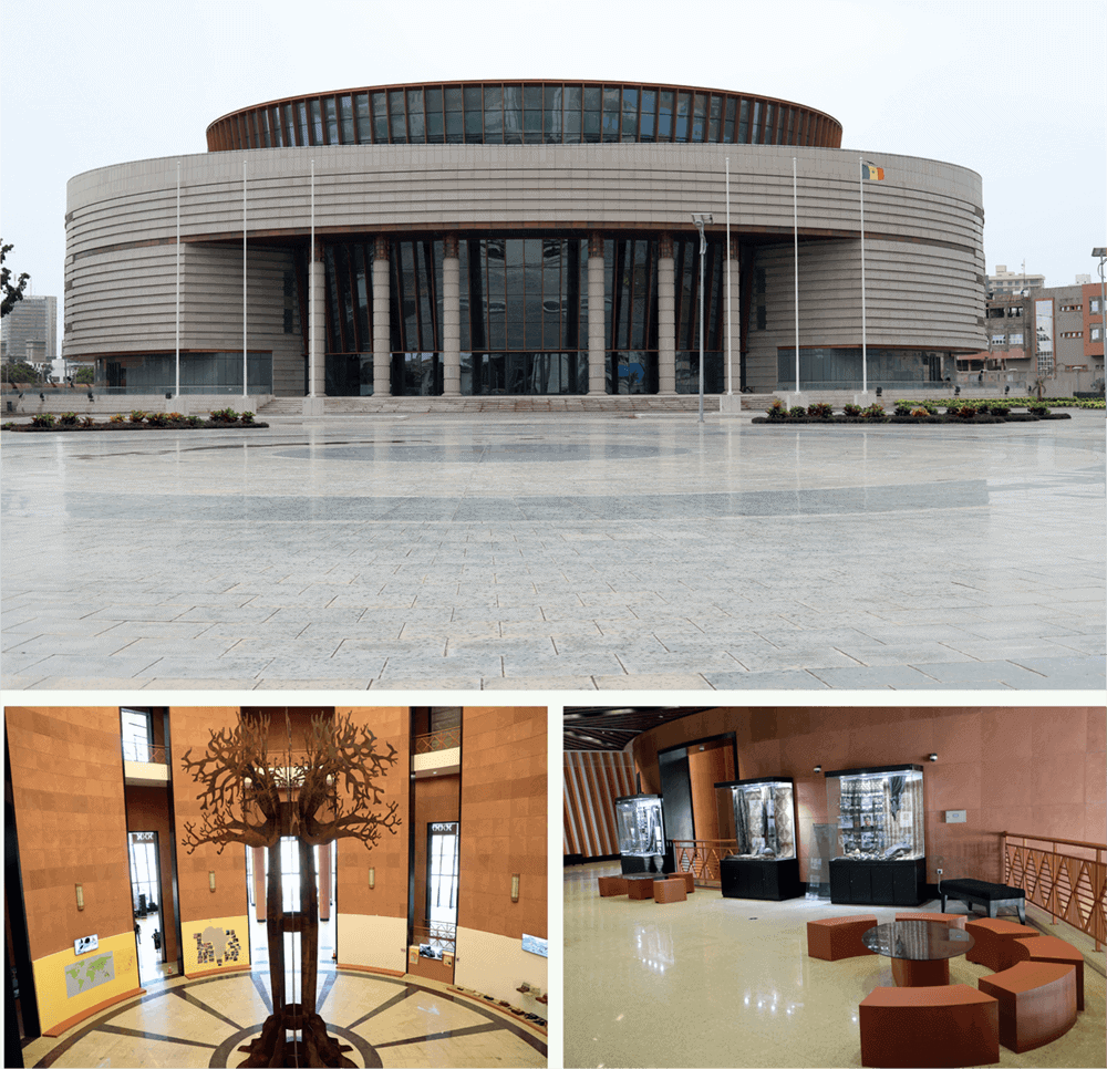 TOP: Exterior of Museum of Black Civilisation. BOTTOM: Exhibitions currently on at the museum.