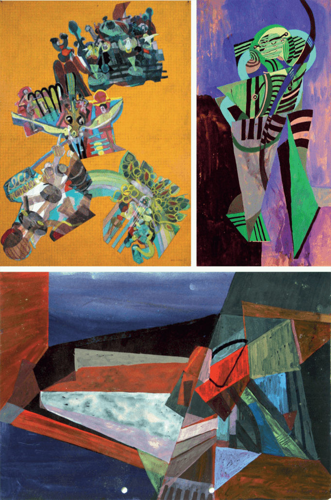 CLOCKWISE FROM TOP LEFT: Manuel Figueira, Litters of the Mindelense Carnival, 1989. Gouache on paper, 96 x 72cm. Untitled, 1972. Gouache on paper, 39 x 21cm. Untitled, 1978. Gouache on paper, 21,5 x 31cm.
