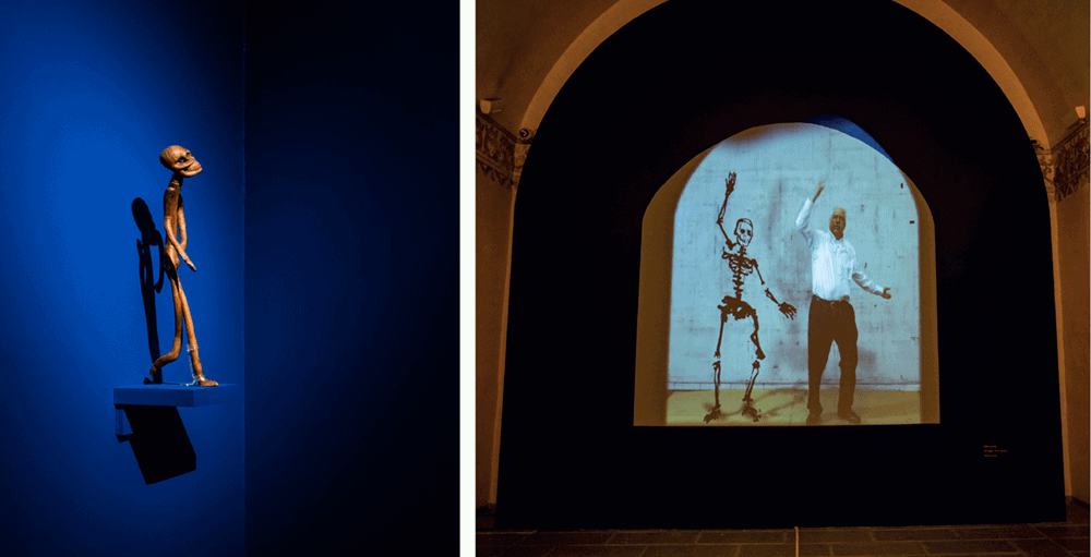 LEFT TO RIGHT: Nelson Mukhuba, Skeleton, 1985. Carved wood. Photographer: Jelil Olmedo. William Kentridge, 30% of Life (film still), 2018. Digital film with sound. Courtesy of the artist.