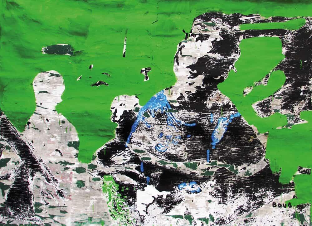 Armand Boua, Les vièx môgô (Les grand frère), 2017. Acrilico e collage su tela, 160 x 230 cm. Per gentile concessione dell'artista e LKB / G.