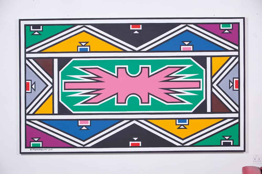 Dr Esther Mahlangu, Ndebele Abstract, Acrylic on canvas. Courtesy of Melrose Gallery.