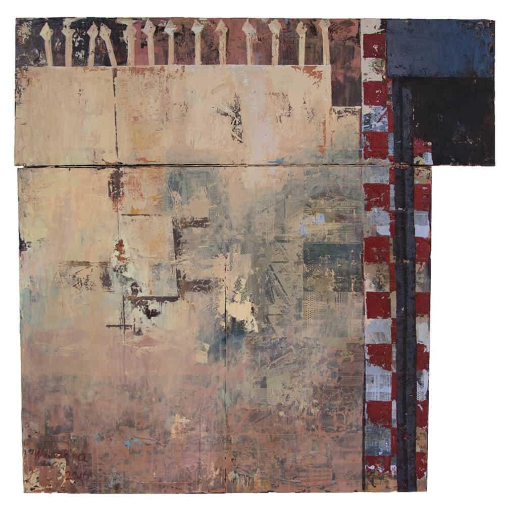 Elias Mung'ora, Ohne Titel (Footprints No.4), 2017. Übertragung von Acryl und Fotokopie auf Leinwand.