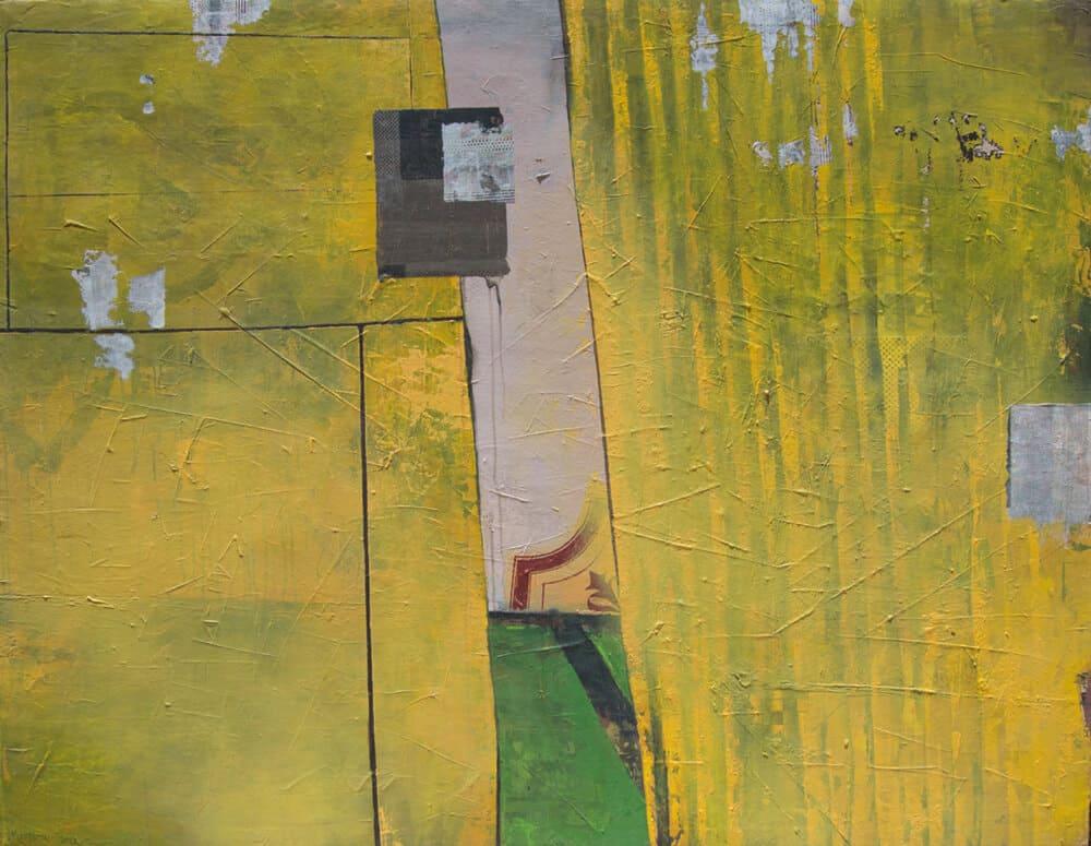 Elias Mung '???? ora, Ohne Titel (Footprints No. 4), 2017. Übertragung von Acryl und Fotokopie auf Leinwand, 140 x 180 cm. Mit freundlicher Genehmigung des Künstlers & Circle Art Agency.