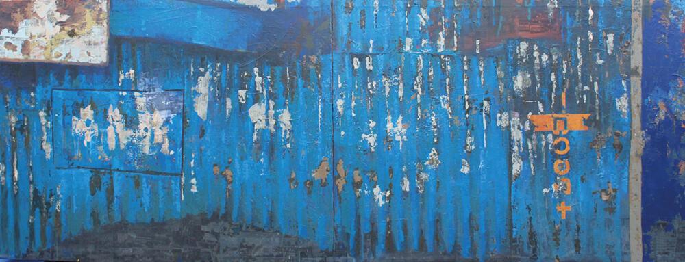 Elias Munga '???? ora, Ohne Titel (Footprints No. 5), 2017. Übertragung von Acryl und Fotokopie auf Leinwand, 116 x 300 cm. Mit freundlicher Genehmigung der Circle Art Agency.