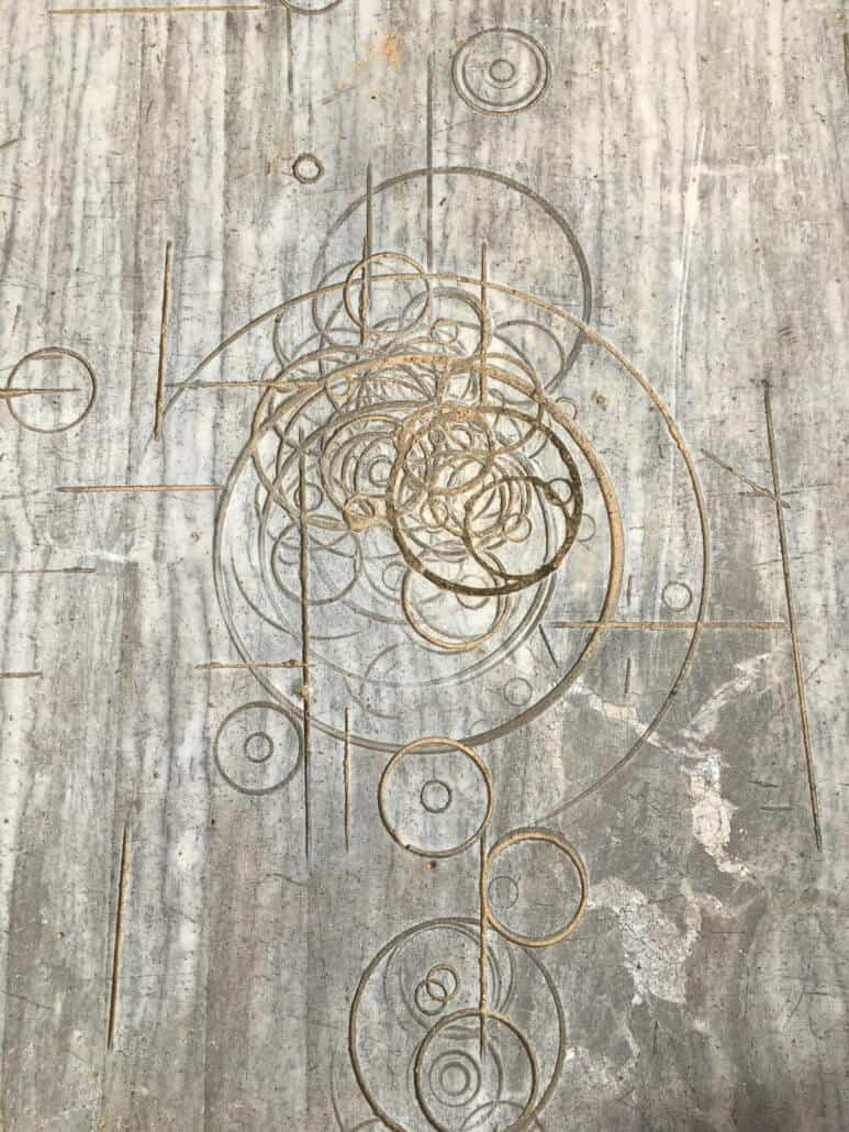 The random circular patterns in the marble slab that inspired the Dylan Lewis Sculpture Garden