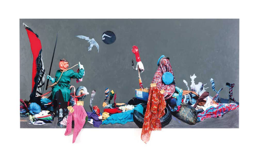 Lot 107. Simphiwe Ndzube, Inevitable Journey to Mars I. Acrylic and mixed media on perspex print, 120 x 240 cm. R 100 000 - 150 000