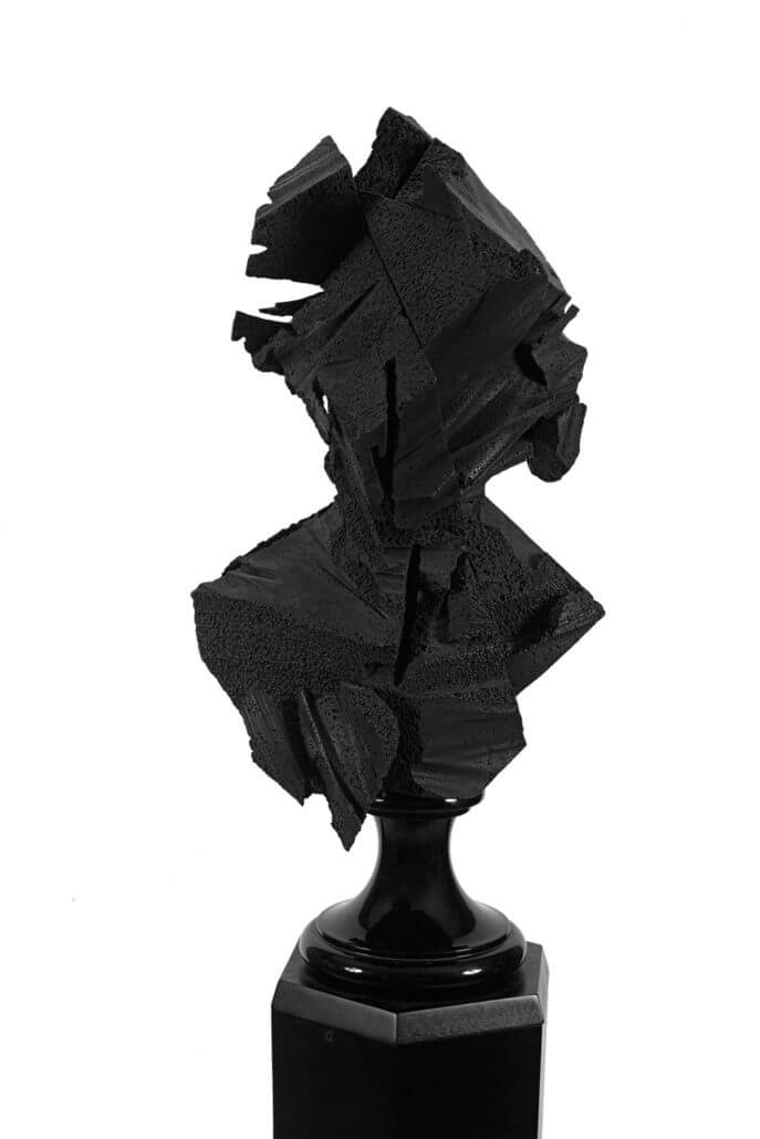 Lot 19. Wim Botha, Prism 17. Bronze on a wooden pedestal. Height: 172cm including base; bust: 67 x 40 x 30,5cm. R 300 000 - 500 000