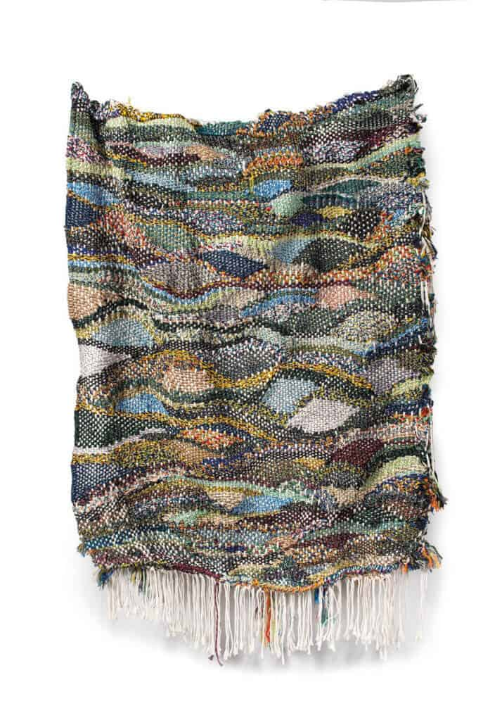 Lot 3. Igshaan Adams, Untitled. Cotton twine, rope and wire 180 by 108cm. R 80 000 - 120 000.