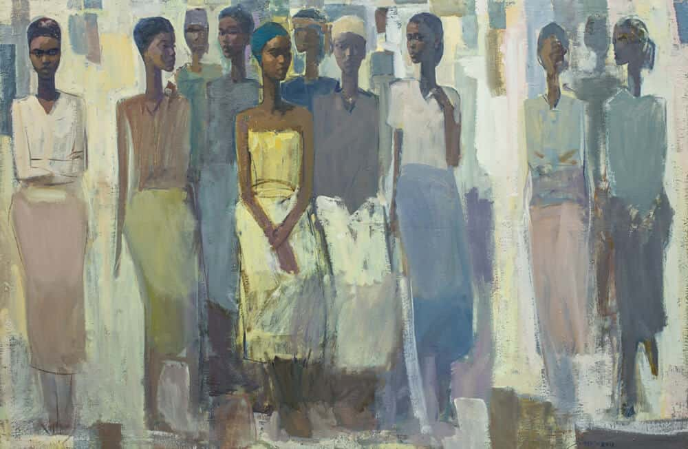 Tadesse Mesfin, Pillars of Life: Grace, 2018. Oil on canvas, 130 x 195cm. Courtesy of the artist and Addis Fine Art.