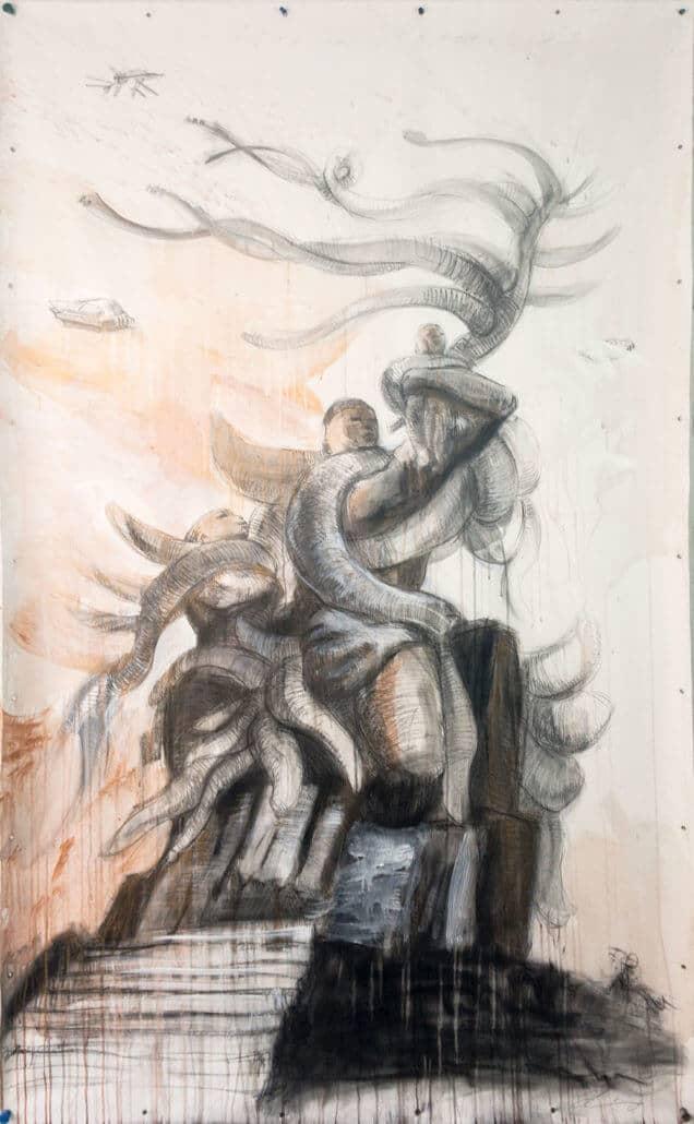 Elio Rodriguez, Utopian Project for African Renaissance, 2018. Graphite & acrylic on canvas.