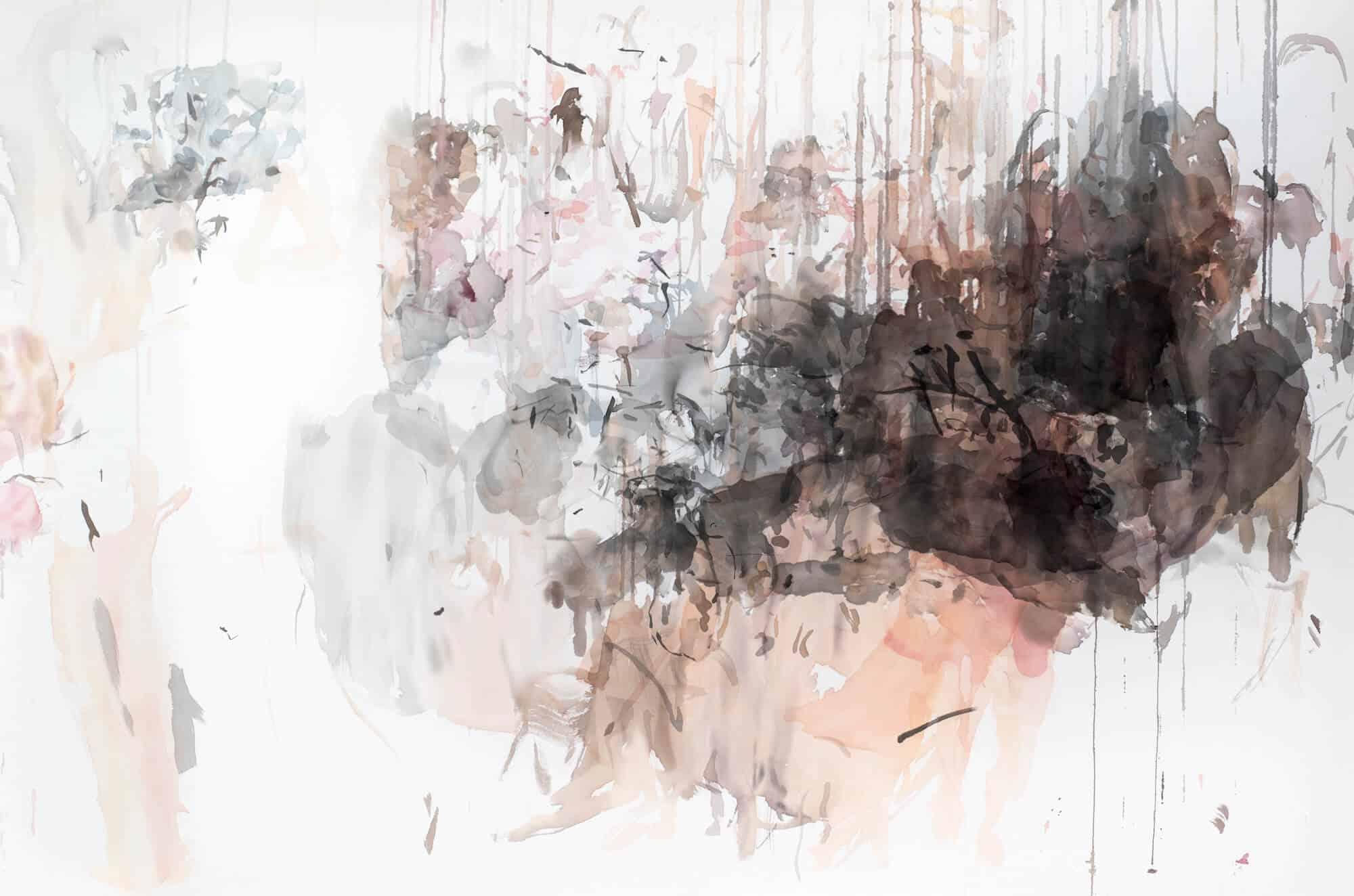 Katehrine Bull, Leora & Paul, 2019. Ink on cotton, 120 x 180cm. Courtesy of the artist & SMITH.