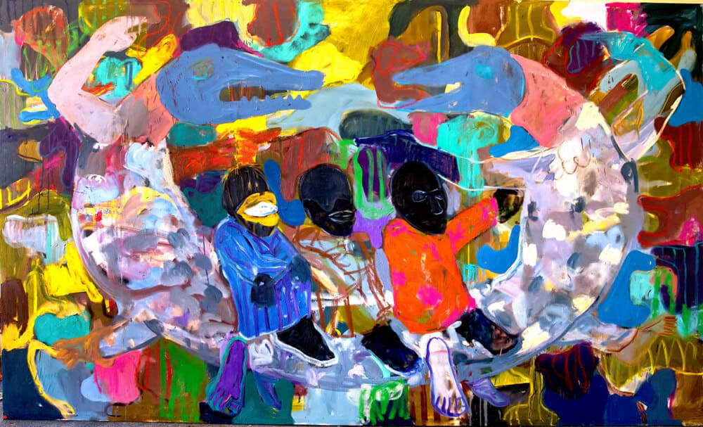 Gresham Tapiwa Nyude, Life in our own hands?, 2019. Oil on canvas, 210 x 350cm.