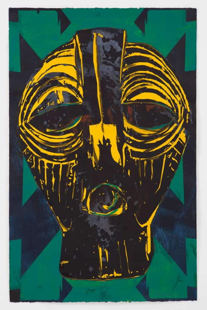 Kendell Geers, Masking Tradition 7686, 2019. Acryl auf Papier, 66 x 102 cm. Unikat. Mit freundlicher Genehmigung des Künstlers & ADN Galerie.