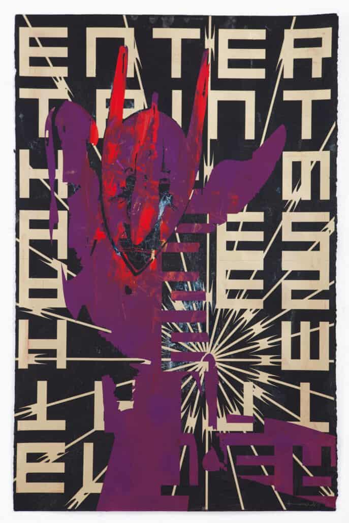 Kendell Geers, Bekenntnis zum Fleisch 7694, 2019. Acryl auf Papier, 66 x 102 cm. Unikat
