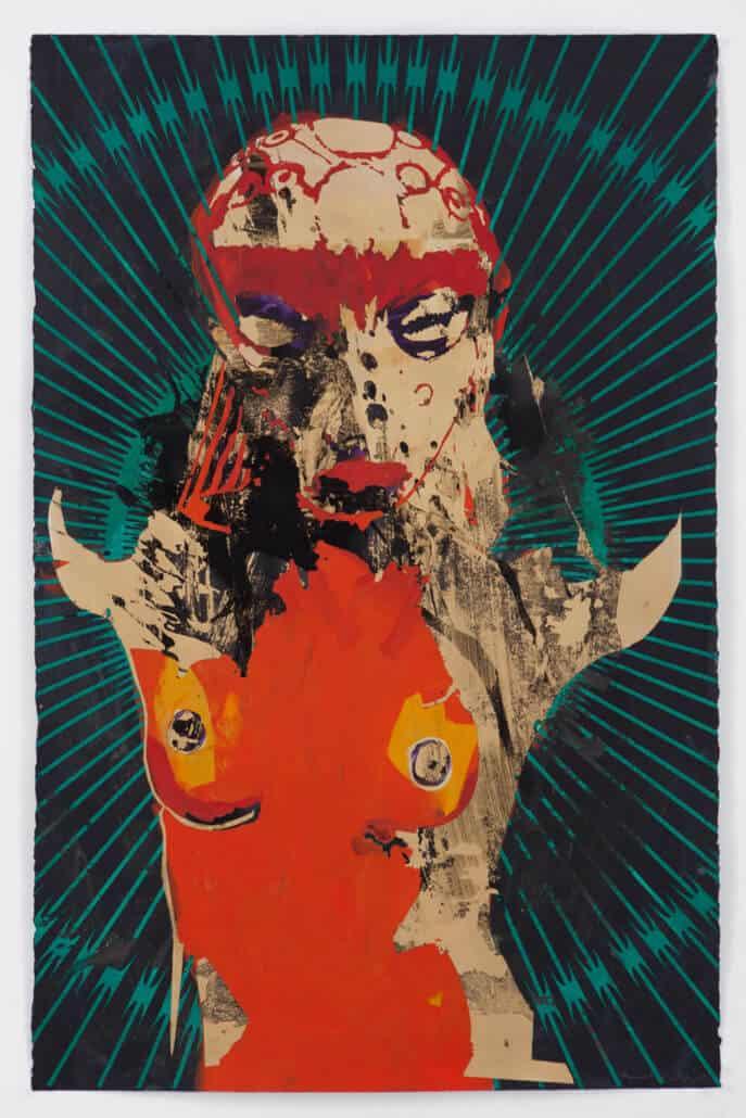 Kendell Geers, Bekenntnis zum Fleisch 7681, 2019. Acryl auf Papier, 66 x 102 cm. Unikat