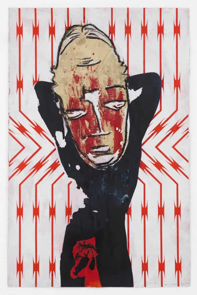 Kendell Geers, Bekenntnis zum Fleisch 7687, 2019. Acryl auf Papier, 66 x 102 cm. Unikat.