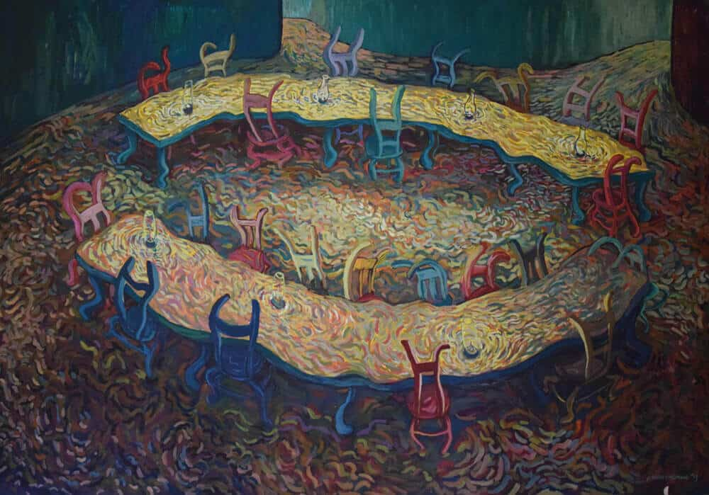 Cosmos Shiridzinomwa, Fruitless Discussions, 2013. Olio su tela, 227 x 157cm