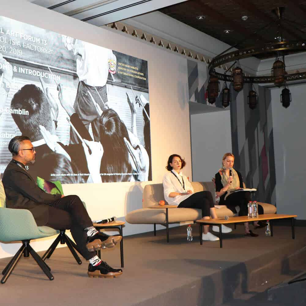 Global Art Forum was organized by Commissioner Shumon Basar, with Editor and Writer Victoria Camblin, and Curator and Writer Fawz Kabraas Co-Directors.