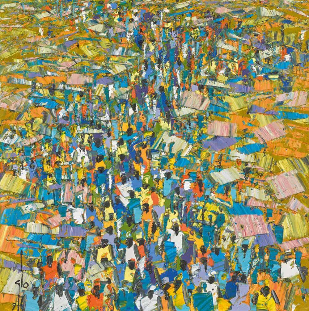 Lot 1: Ablade Glover, Market Scene, est. £6,000-8,000