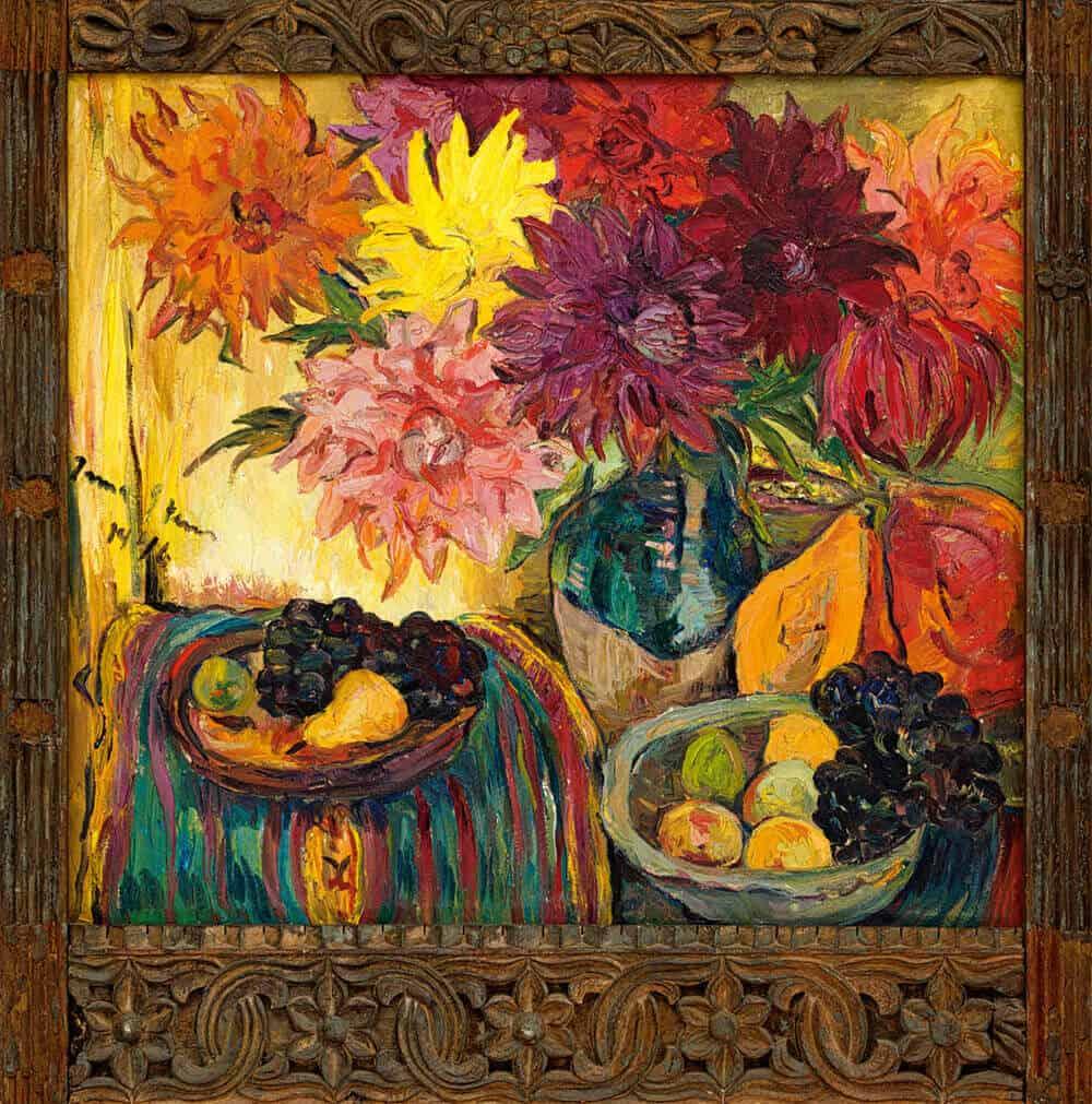 Irma Stern | Still Life with Fruit and Dahlias | Oil on canvas | 85 x 95cm | R 12 000 000 - 15 000 000