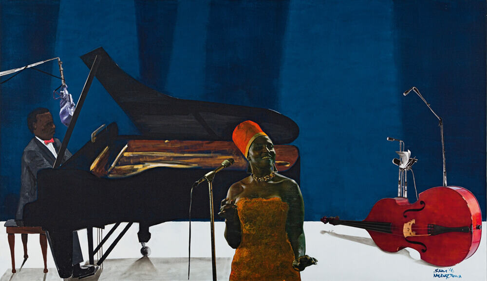 Sam Nhlengethwa | The Jazz Player, Miriam Makeba | Oil and collage on canvas | 140 x 240cm | R 200 000 - 300 000