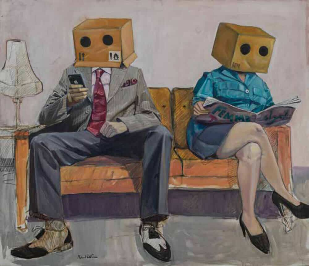 Mohamed Saïd Chair (born in 1989, Maroc), Man and Lady. Acrylic on canvas, 120 × 140cm. Estimate: 4.000 / 6.000€